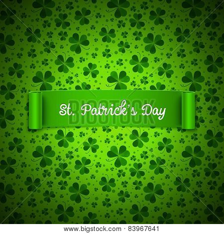 Saint Patricks Day Card, Ribbon On Shamrock Leaves Pattern