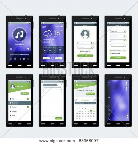 Set Of Vector Illustrations Of Modern Smartphone With Apps. Flat Design Template For Mobile Apps