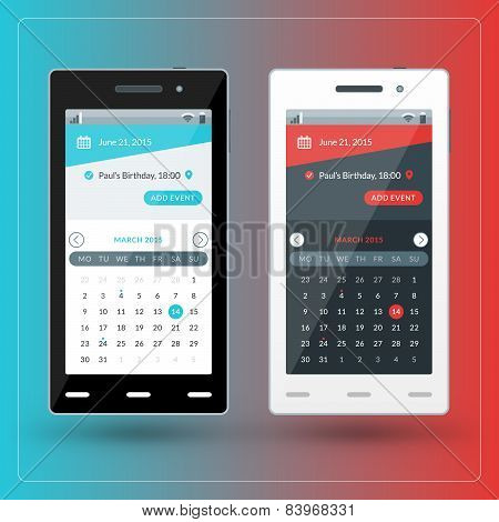 Modern Smartphone With Calendar App On The Screen. Flat Design Template For Mobile Apps
