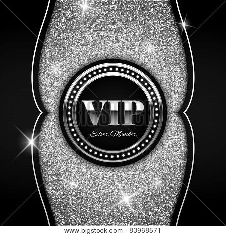 Silver Vip Vector Illustration On Shiny Glitter Background