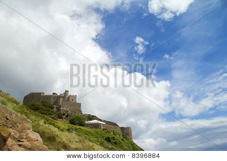 Jersey's Mount Orgueil castle and sky