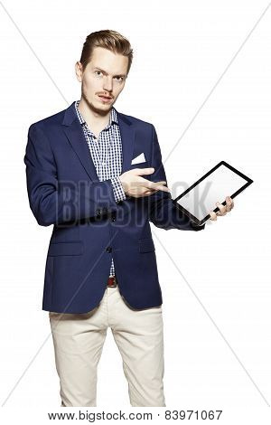 Man Pointing Something On Tablet