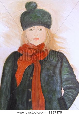 Oil Painting Of Young Girl On Canvas