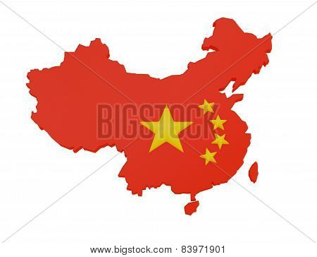 Flag Of China Inside The Shape Of The Map Of China