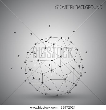 3D abstract vector technology. Geometric round unusual object on Grey background