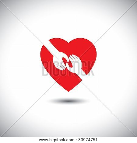 Vector Icon Of Two Hands Touching With Heart - Concept Of Love
