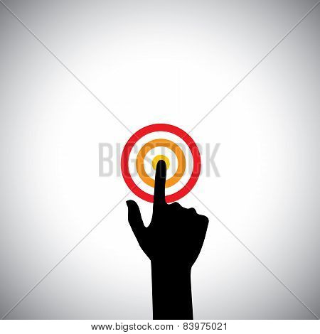 Hand With Index Finger Touching A Target Or Pressing A Button - Vector Icon
