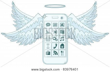 Mobile phone smartphone collection on white background.