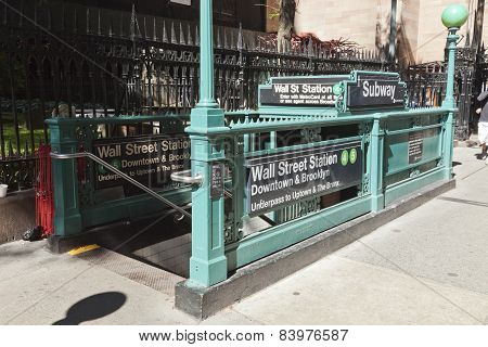 New York, Usa - Subway Entrance In Lower Manhattan At Broadway