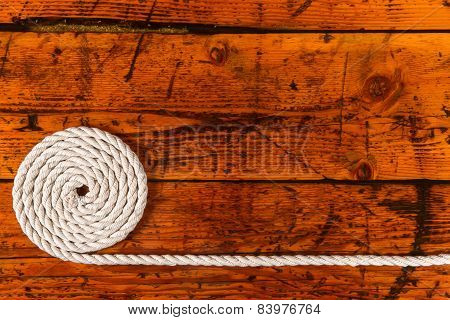 White Rope, Textured Wood And Copy Space
