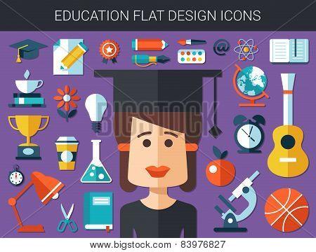 Set of modern education flat design icons