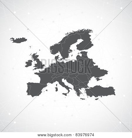 Europe Map And Communication Background Vector illustration
