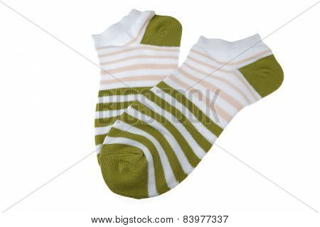 Pair Olive And Rosestriped Ladies Socks