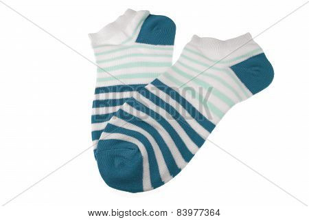 Pair Blue And White Striped Ladies Socks