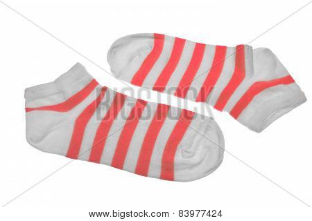 Pair Red And White Striped Ladies Socks