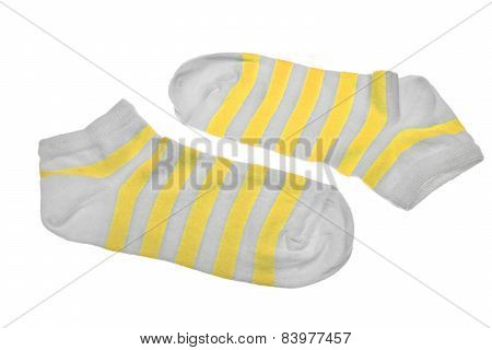 Pair Neon Yellow  And White Striped Ladies Socks