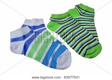 Two Pairs Of Different Sport Striped Ladies Socks
