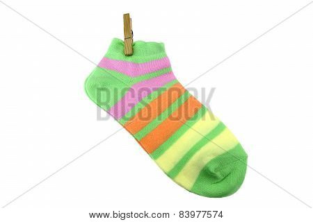Pair Green, Orange, Yellow And Violet Striped Ladies Socks With Clothespin