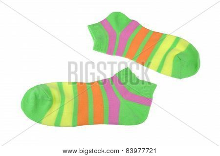 Pair Green, Orange, Yellow And Violet Striped Ladies Socks