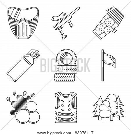 Black line icons vector collection of paintball equipment