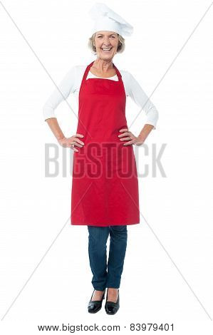 Full Length Of Woman Chef Over White