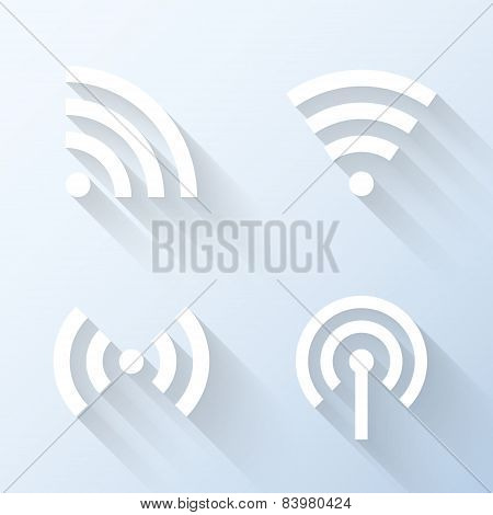Flat Wireless Connection Icons With Long Shadows. Vector Illustration
