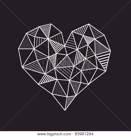 Abstract geometric low poly line heart