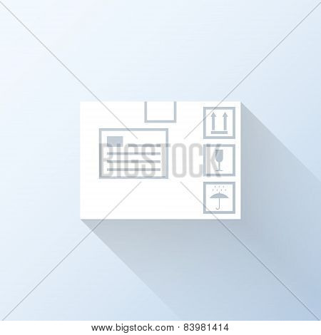Flat Shipping Box Icon With Long Shadow. Vector Illustration