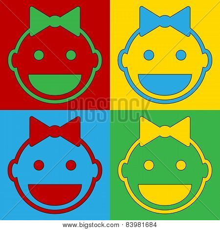 Pop Art Baby Face Symbol Icons.