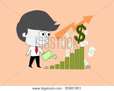 business man watering stock chart