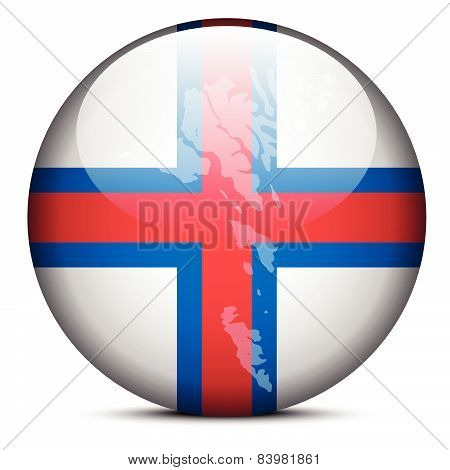 Map On Flag Button Of Faroe Islands