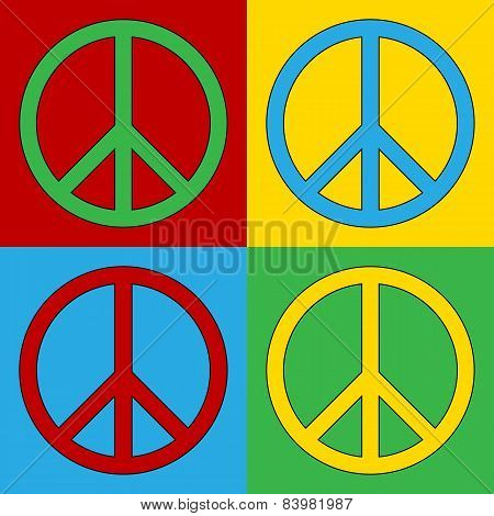 Pop Art Peace Symbol Icons.