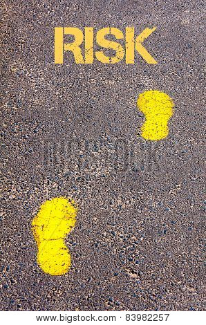 Yellow Footsteps On Sidewalk Towards Risk Message