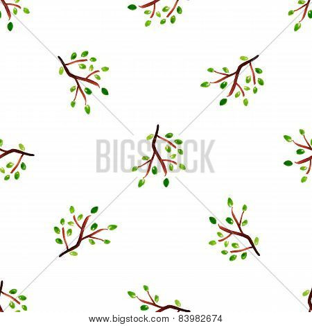 Vector Watercolor Leaf. Herbarium.  Autumn Seamless Pattern With Leaf. Autumn Theme.