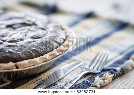 Chocolate Pie On Plaid Placemat