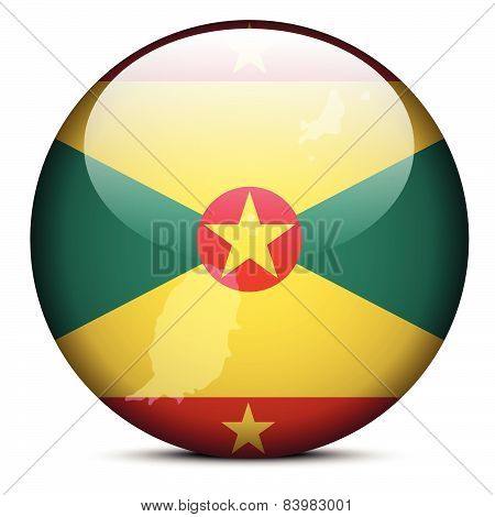 Map On Flag Button Of Grenada