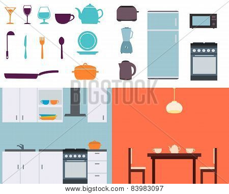 Set kitchen. Equipment and utensils. Vector illustration