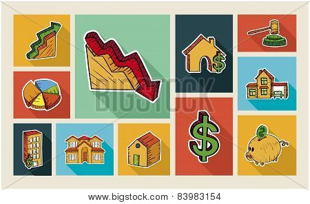 Real Estate Sketch Style Illustration Icon Set