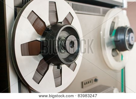 Reel With Magnetic Tape Closeup
