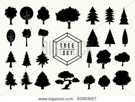 Tree Shapes Icon Set Isolated Illustration