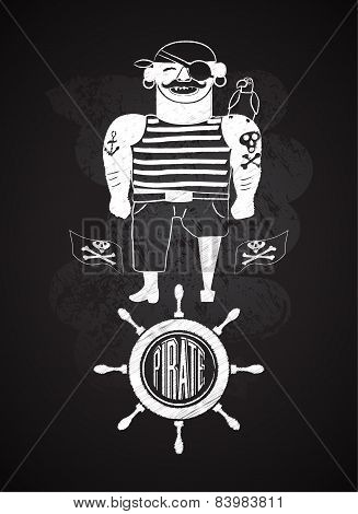 Cartoon pirate design on chalkboard. Pirate with a parrot on shoulder, flags with skull and bones an