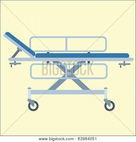 Medical stretcher bed on wheels