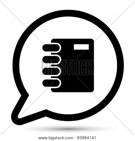 Vector bubble with notepad icon