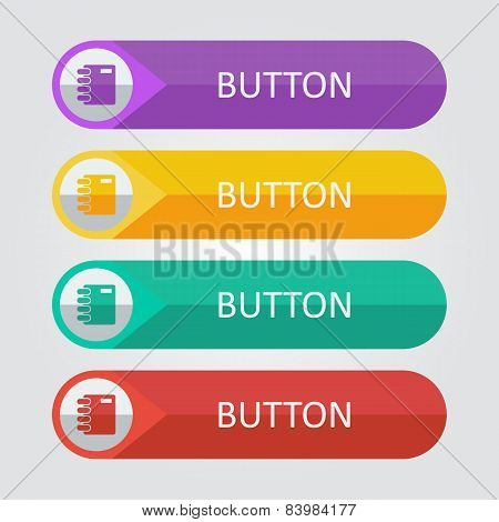 Vector flat buttons with notepad icon