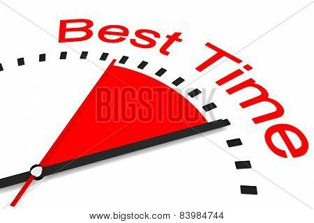 Clock With Red Seconds Hand Area Best Time Illustration