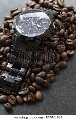 Black Watch And Coffee On Black