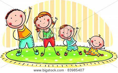 Family doing morning exercises