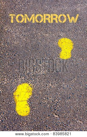 Yellow Footsteps On Sidewalk Towards Tomorrow Message