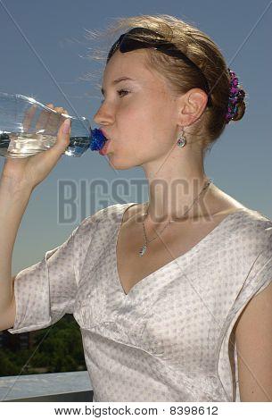 Female drinking water