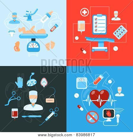 Surgery medical icons design concept